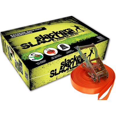 "Brand 44 Slackers 50' Slackline Classic Kit with Bonus ""Teaching Line"""