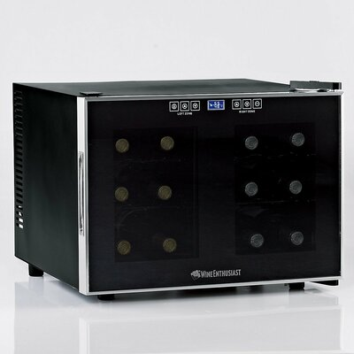 Wine Enthusiast Silent 12 Bottle Dual Zone Touchscreen Wine Refrigerator