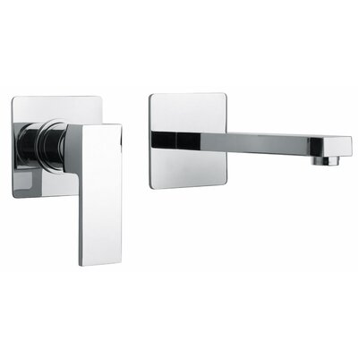 J12 Bath Series Single Lever Handle Two Hole Wall Mount Bathroom Faucet with Linear Matched ...