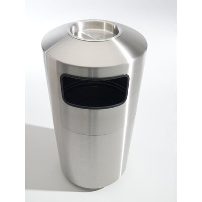 Toledo Metal Spinning Cleanline 39 Gallon Side Load Stainless Steel Waste Receptacle with Ashtop Tray