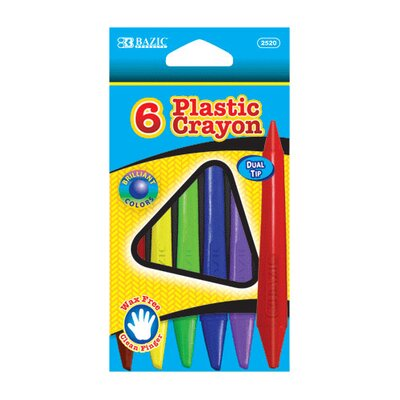 Bazic 6 Color Dual Tip Triangle Plastic Crayon Set