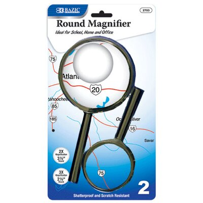 Bazic 2 Ct. Round Handheld Magnifier Set (Set of 48)