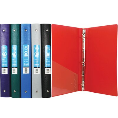 Bazic Matte Color Poly 3-Ring Binder with Pocket (Set of 48)