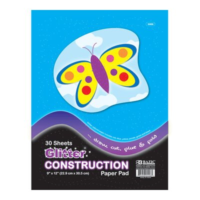 Bazic Glitter Construction Paper Pad (Set of 48)