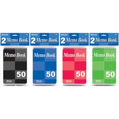 Bazic Top Bound Spiral Memo Books (Set of 2)