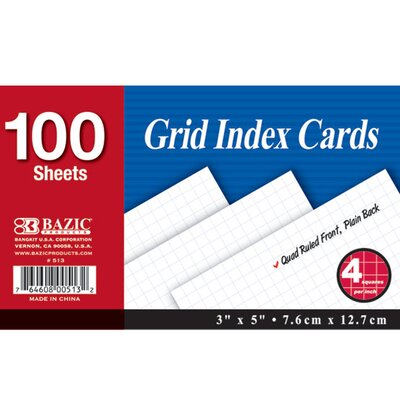 Bazic Quad Ruled Index Card (Set of 36)