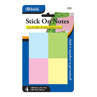 "Bazic 1.5"" x 2"" Stick On Notes (Set of 4)"