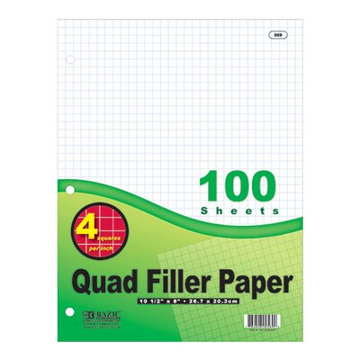 Bazic Quad-Ruled Filler Paper
