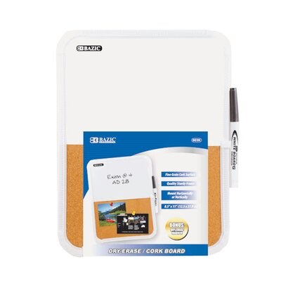 Bazic Dry Erase / Cork Combo Board with Marker