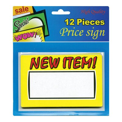 Bazic 12 Ct. New Item Price Sign (Set of 24)
