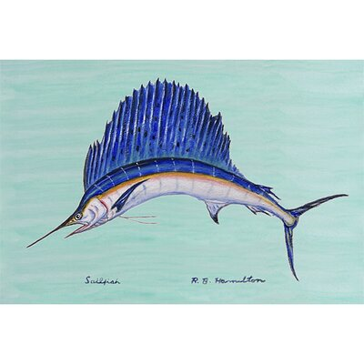 Betsy Drake Interiors Coastal Sailfish Outdoor Wall Hanging