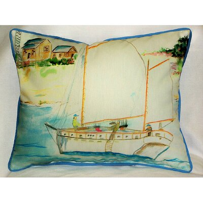 Betsy Drake Interiors Coastal Two Masted Boat Indoor / Outdoor Pillow