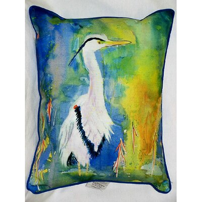 Betsy Drake Interiors Coastal Blue Heron Indoor / Outdoor Pillow