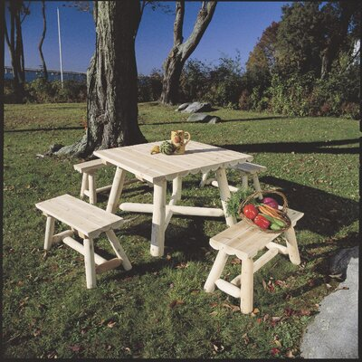 Rustic Natural Cedar Furniture 24'' Wood Picnic Bench