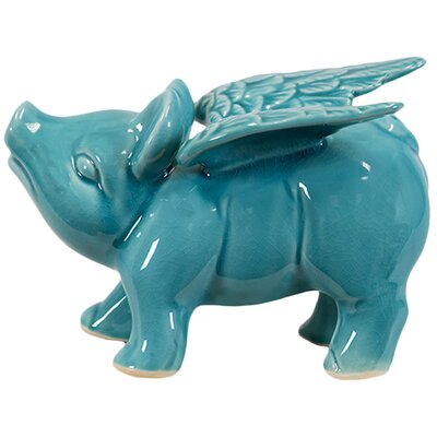 Urban Trends Ceramic Flying Pig Statue