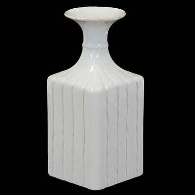 "Urban Trends 11.5"" White Ceramic Flower Pot"