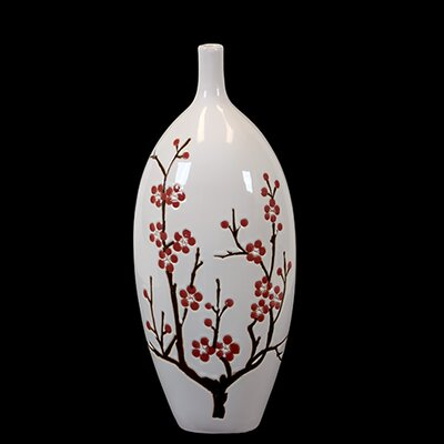 Urban Trends Ceramic Vase with Cherry Blossom Accent