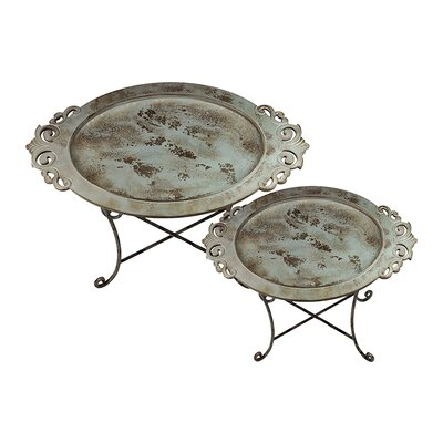 Urban Trends Metal Tray on Stand Set of Two