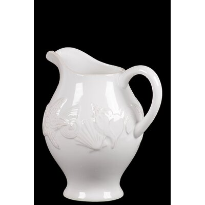Urban Trends Ceramic Seashell Pitcher