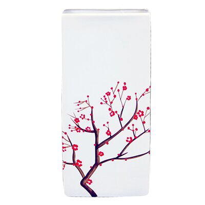 White Japanese Cherry Tree Accent Kye Ceramic Vase in Blooming Branches Finish