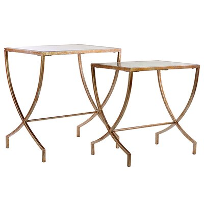 Urban Trends 2 Piece Metal Table Set with Mirror Top
