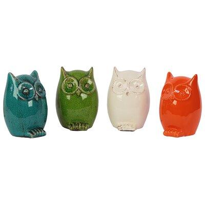 Urban Trends Ceramic Owl Assorted Color Four Piece Set