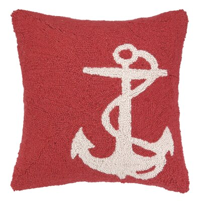 Peking Handicraft Nautical Hook White Anchor Pillow