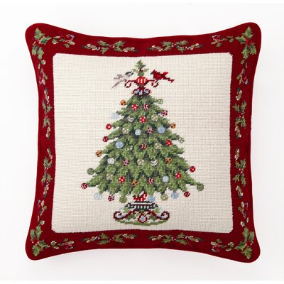 Peking Handicraft Holly Garden Tree Decorative Wool / Cotton Pillow