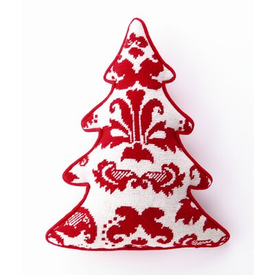 Peking Handicraft Toile Tree Shaped Wool / Cotton Pillow