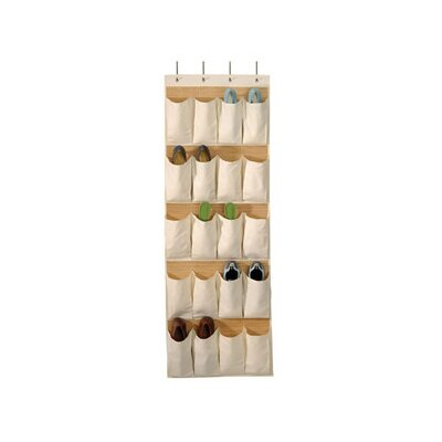 Richards Homewares Bamboo and Natural Canvas Storage 20 Pocket Over the Door Shoe Organizer