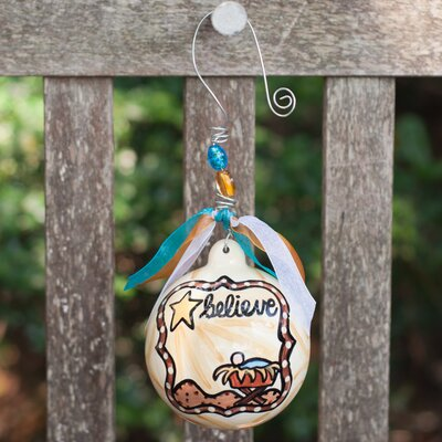 "Glory Haus ""Believe"" Manger  Ball Ornament"