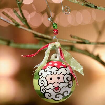 Santa with Stripes Ball Ornament