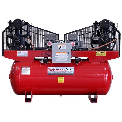Schrader International Duplex Professional Series Two Stage 5HP 120 Gallon Horizontal Air Compressor