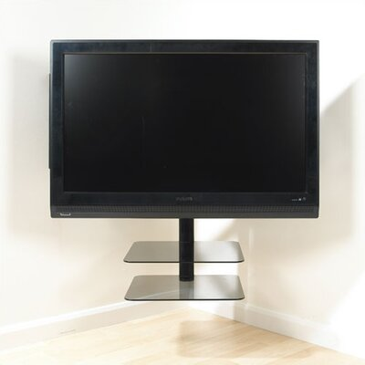 Nexus Floating Flat Panel Corner Mount with AV Component Shelving Screens (36