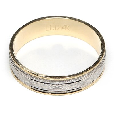 <strong>Precious Stars</strong> 14k Two-tone Gold Ladies Milgrain 'X' Design Easy Fit Wedding Band
