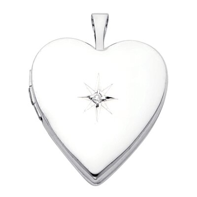 Precious Stars 14k Solid White Gold with Diamond Fully Open Close Function Heart Locket Pendant