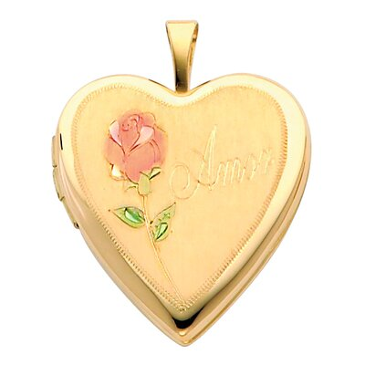 Precious Stars 14k Solid Yellow Gold Engraved 'Amor' with Rose Fully Open Close Function Heart Locket Pendant