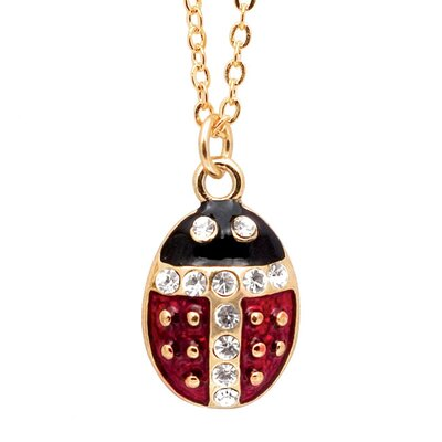 Precious Stars Goldtone and Enamel Ladybug Necklace
