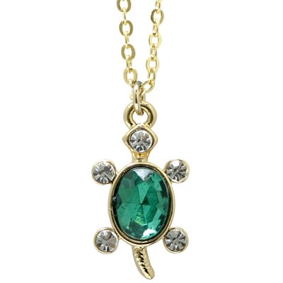 Precious Stars Goldtone and Crystal Animal Turtle Necklace