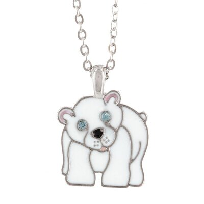 Silvertone and Enamel Animal Polar Bear Necklace