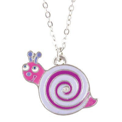 Silvertone and Enamel Animal Snail Necklace