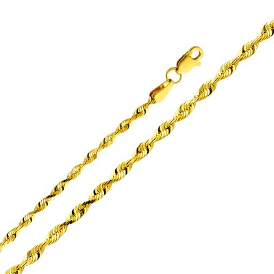 Precious Stars 14kt Yellow Gold 2.5mm Solid Rope Chain