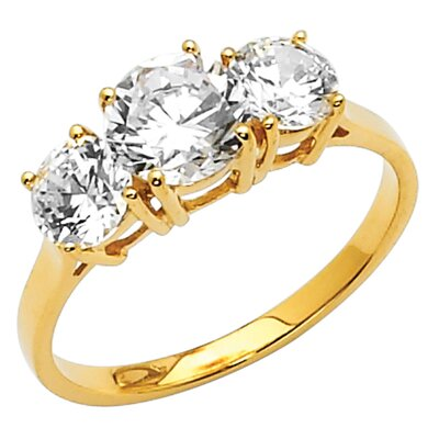 14K Gold Round Cubic Zirconia Ring