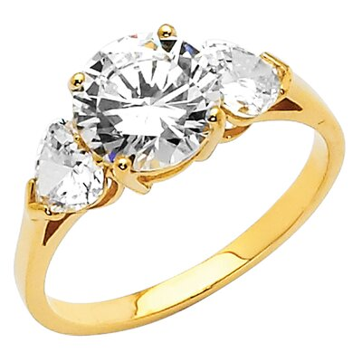 14K Gold Round and Hearts Cubic Zirconia Ring
