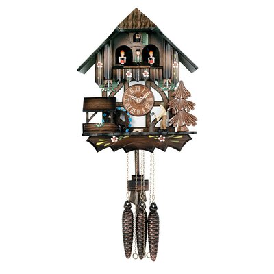 River City Clocks Musical Cuckoo Clock with Man Chops Wood Waterwheel Turns Design