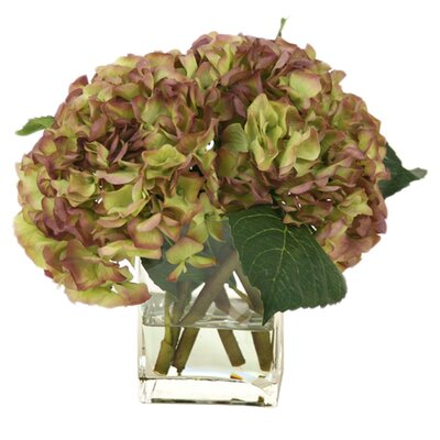 <strong>Distinctive Designs</strong> Silk Hydrangea Nosegay in Rectangular Vase