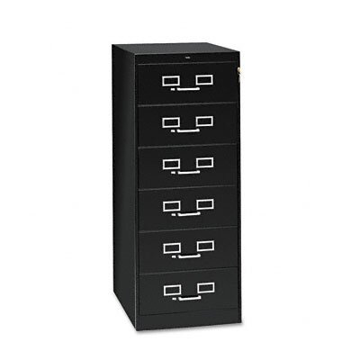 Tennsco Corp. 6-Drawer Card Cabinet, w/Lock, Black/Sand