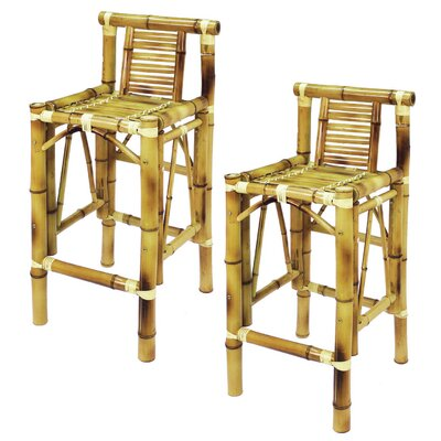 "RAM Gameroom Products Bamboo Tiki 28"" Barstool (Set of 2)"