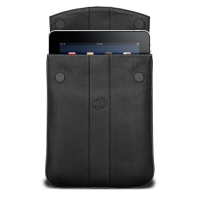 MacCase Premium Leather Vertical iPad Sleeve in Black