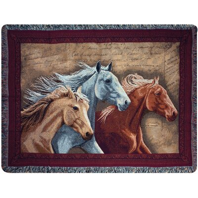 Manual Woodworkers & Weavers Three Horses Tapestry Cotton Throw
